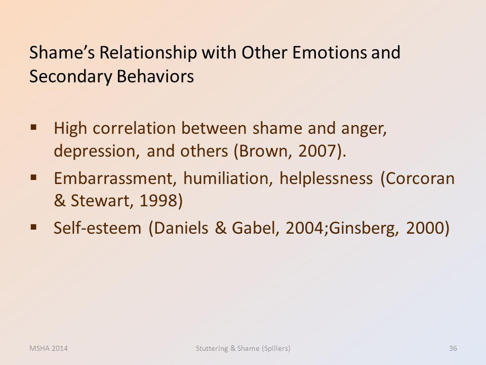 Shame's Relationship with Other Emotions and Secondary Behaviors