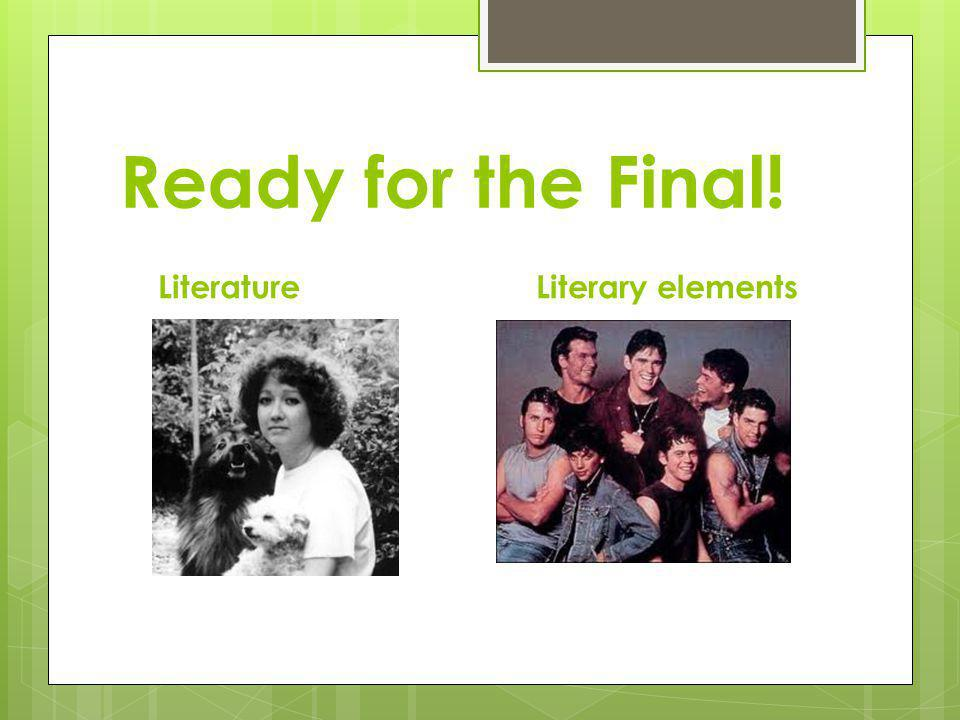 Ready for the Final! Literature Literary elements