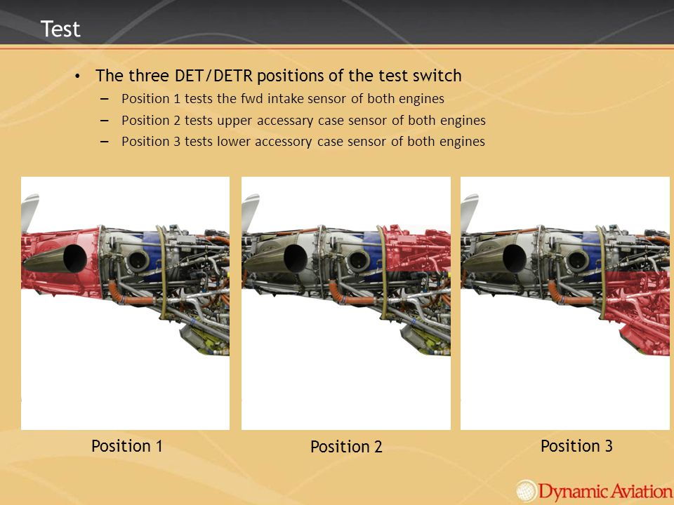 Test The three DET/DETR positions of the test switch Position 1