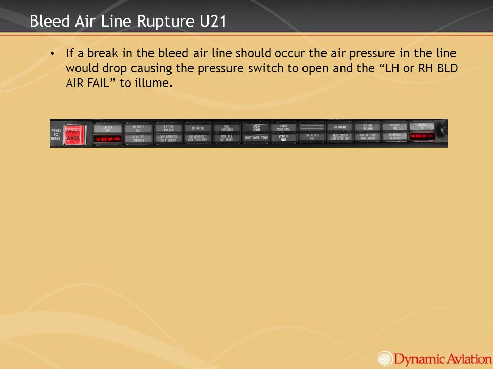 Bleed Air Line Rupture U21