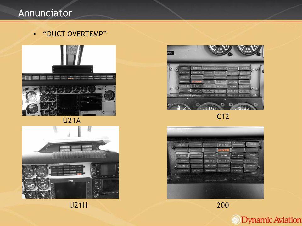 Annunciator DUCT OVERTEMP C12 U21A U21H 200