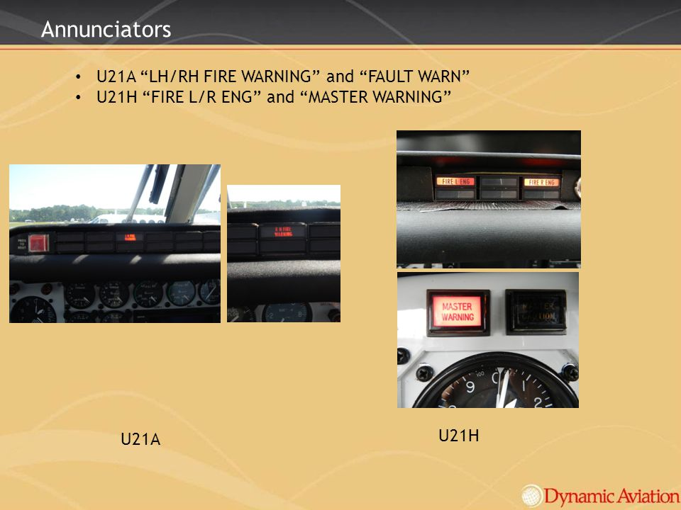 Annunciators U21A LH/RH FIRE WARNING and FAULT WARN