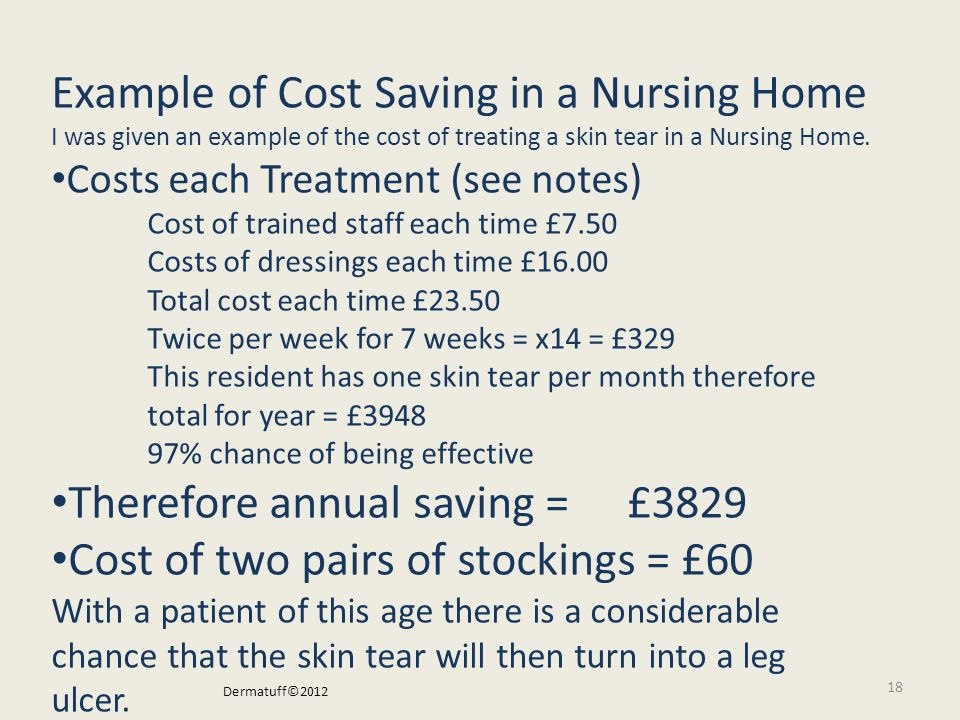 Example of Cost Saving in a Nursing Home