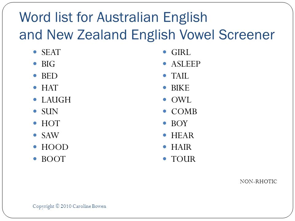 Word list for Australian English and New Zealand English Vowel Screener