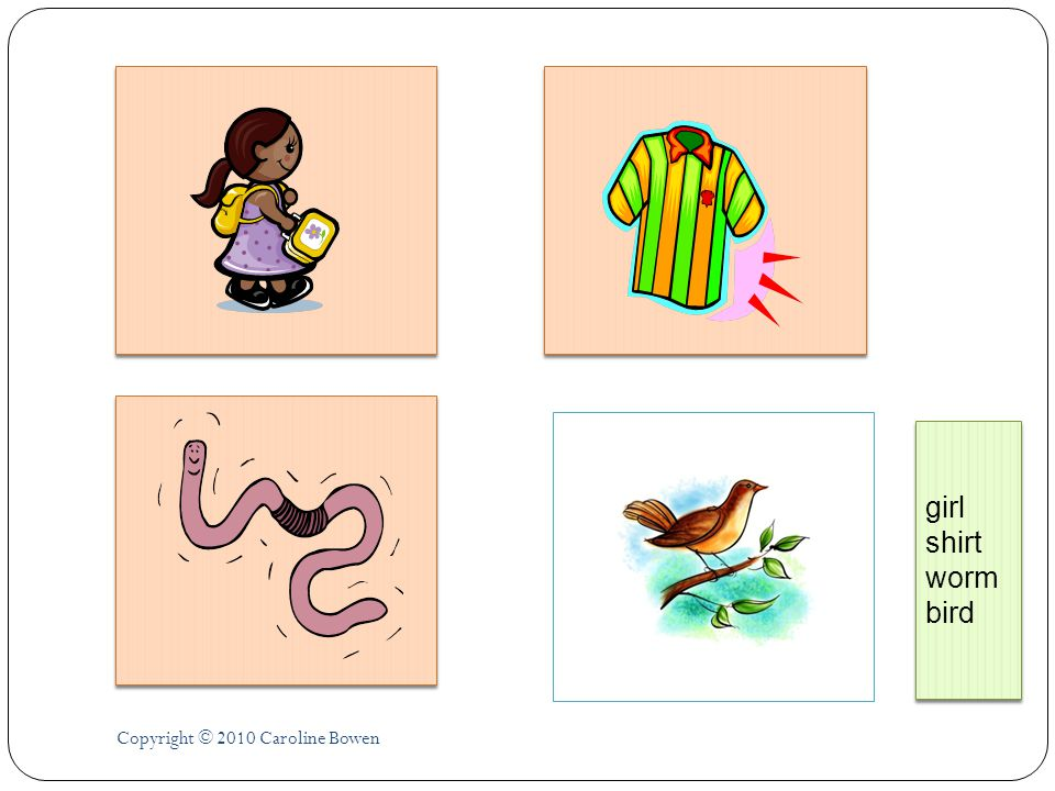 girl shirt worm bird Copyright © 2010 Caroline Bowen