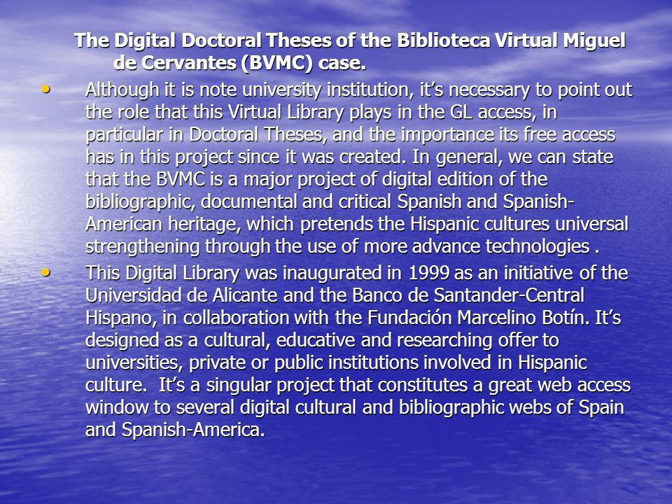 The Digital Doctoral Theses of the Biblioteca Virtual Miguel de Cervantes (BVMC) case.