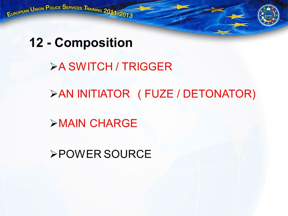 12 - Composition A SWITCH / TRIGGER AN INITIATOR ( FUZE / DETONATOR)