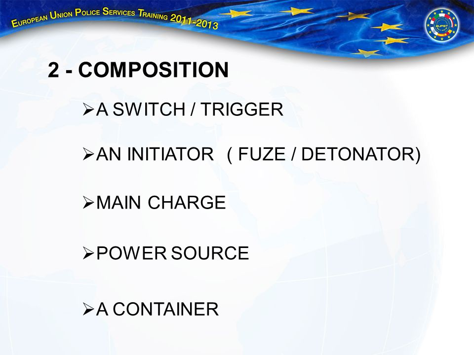 2 - COMPOSITION A SWITCH / TRIGGER AN INITIATOR ( FUZE / DETONATOR)
