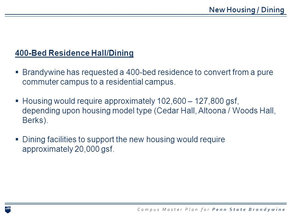 New Housing / Dining 400-Bed Residence Hall/Dining.