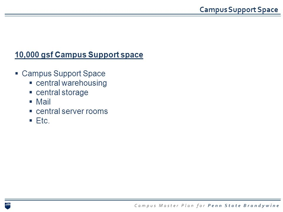 Campus Support Space 10,000 gsf Campus Support space. Campus Support Space. central warehousing.