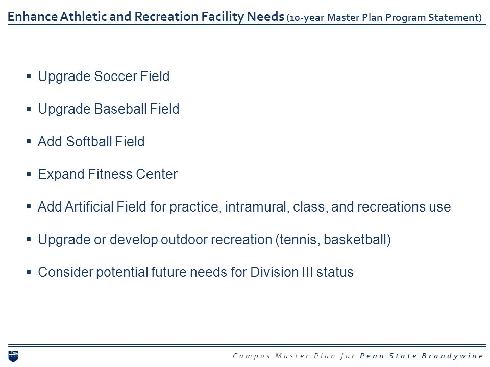 Enhance Athletic and Recreation Facility Needs (10-year Master Plan Program Statement)