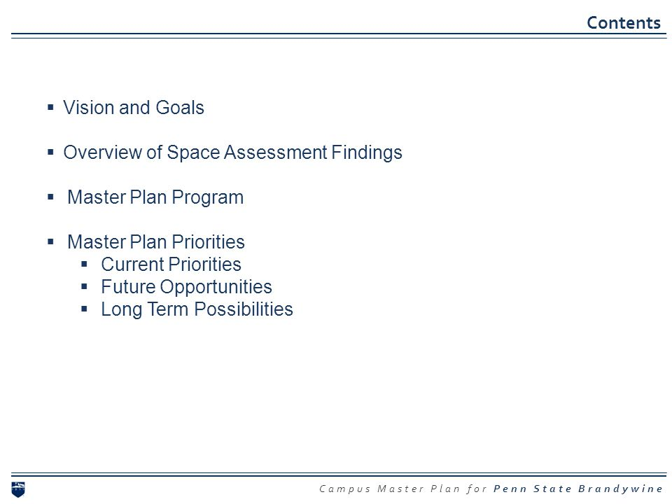Contents Vision and Goals Overview of Space Assessment Findings