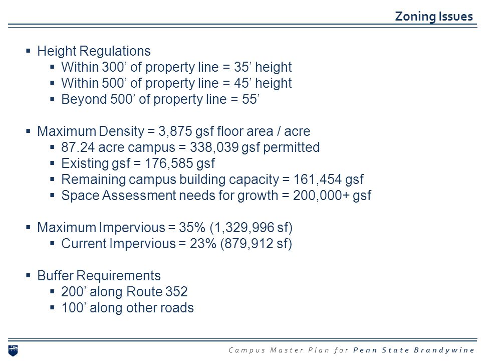 Zoning Issues Height Regulations. Within 300' of property line = 35' height. Within 500' of property line = 45' height.