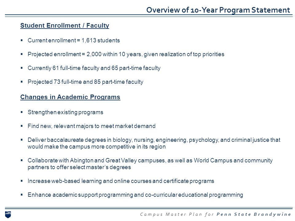 Overview of 10-Year Program Statement