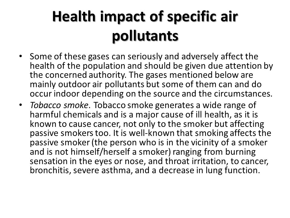 Health impact of specific air pollutants