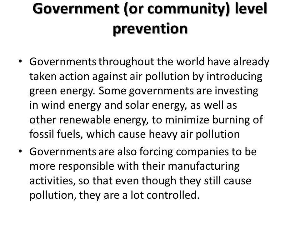 Government (or community) level prevention