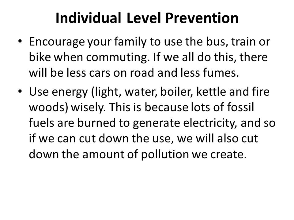Individual Level Prevention