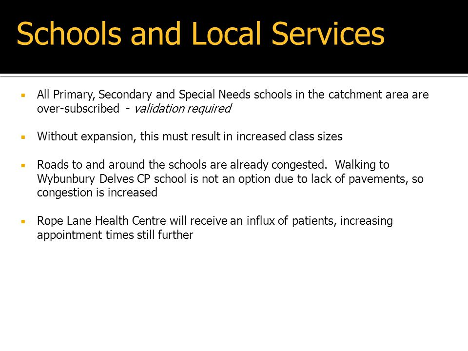 Schools and Local Services
