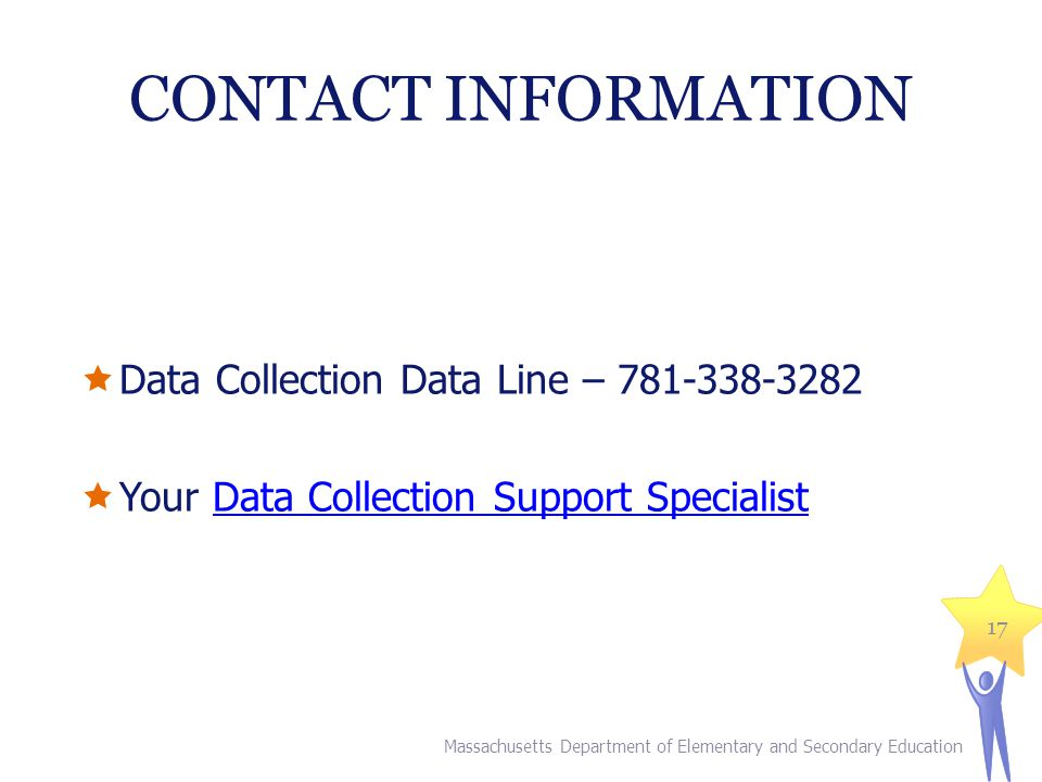 CONTACT INFORMATION Data Collection Data Line – 781-338-3282. Your Data Collection Support Specialist.
