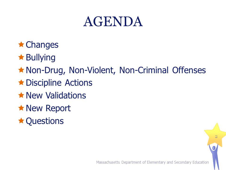 AGENDA Changes Bullying Non-Drug, Non-Violent, Non-Criminal Offenses