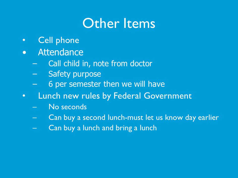 Other Items Cell phone Attendance