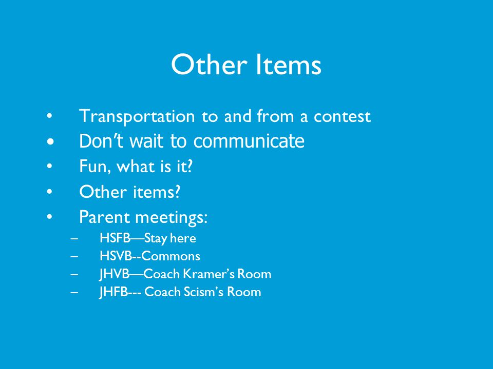 Other Items Transportation to and from a contest