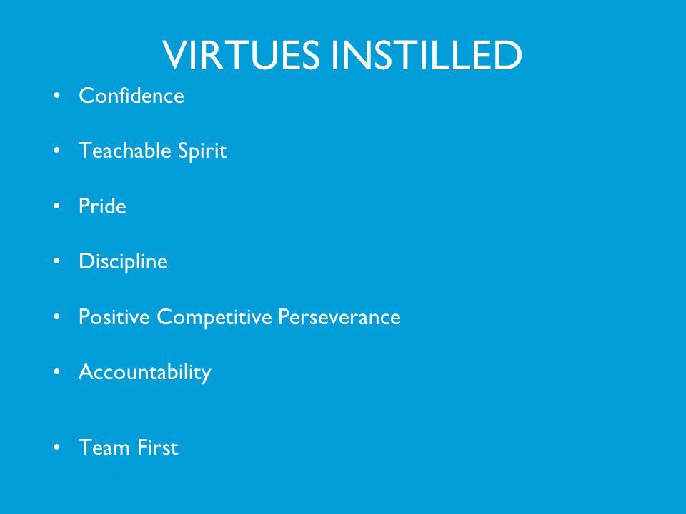 VIRTUES INSTILLED Confidence Teachable Spirit Pride Discipline