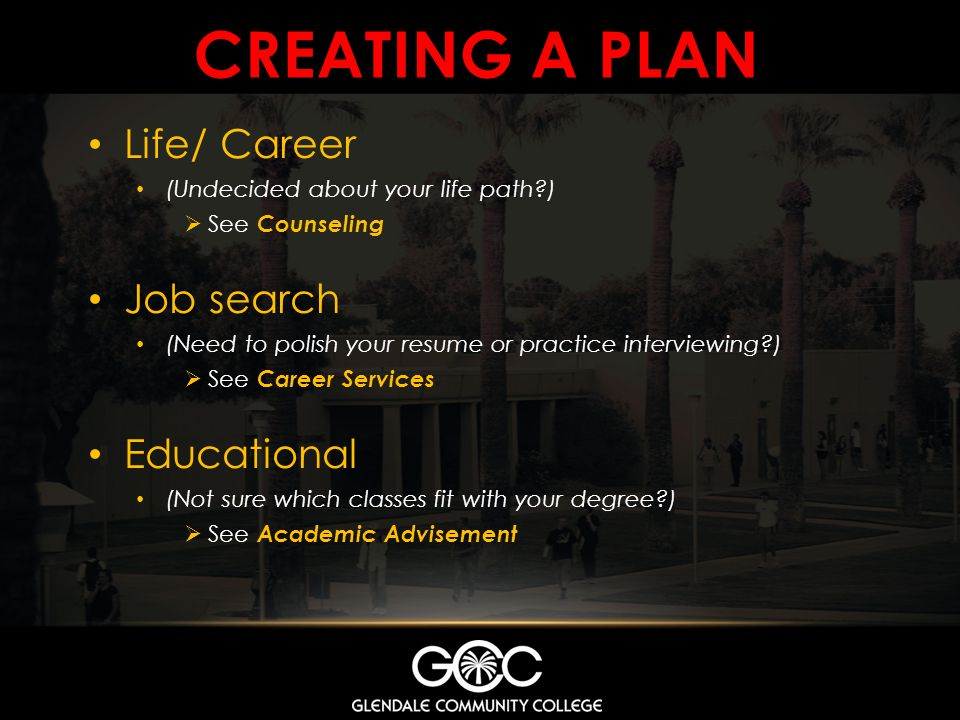 CREATING A PLAN Life/ Career Job search Educational