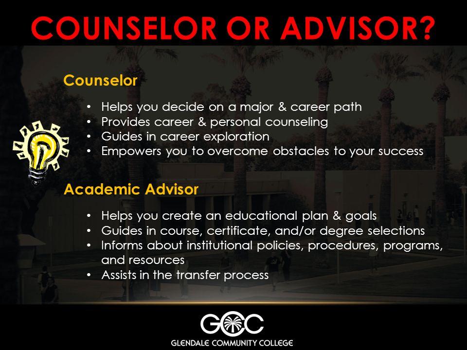 Counselor or advisor Counselor Academic Advisor