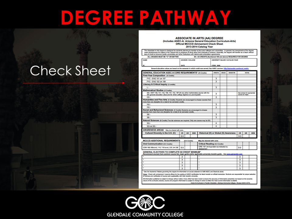 Degree Pathway Check Sheet