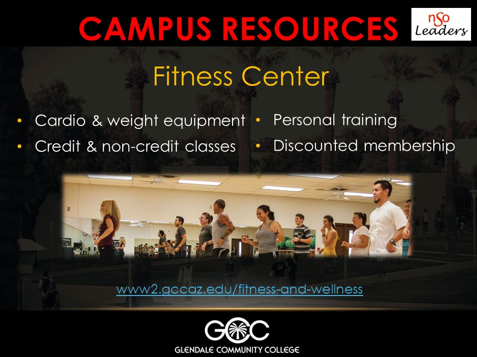 Campus resources Fitness Center Cardio & weight equipment
