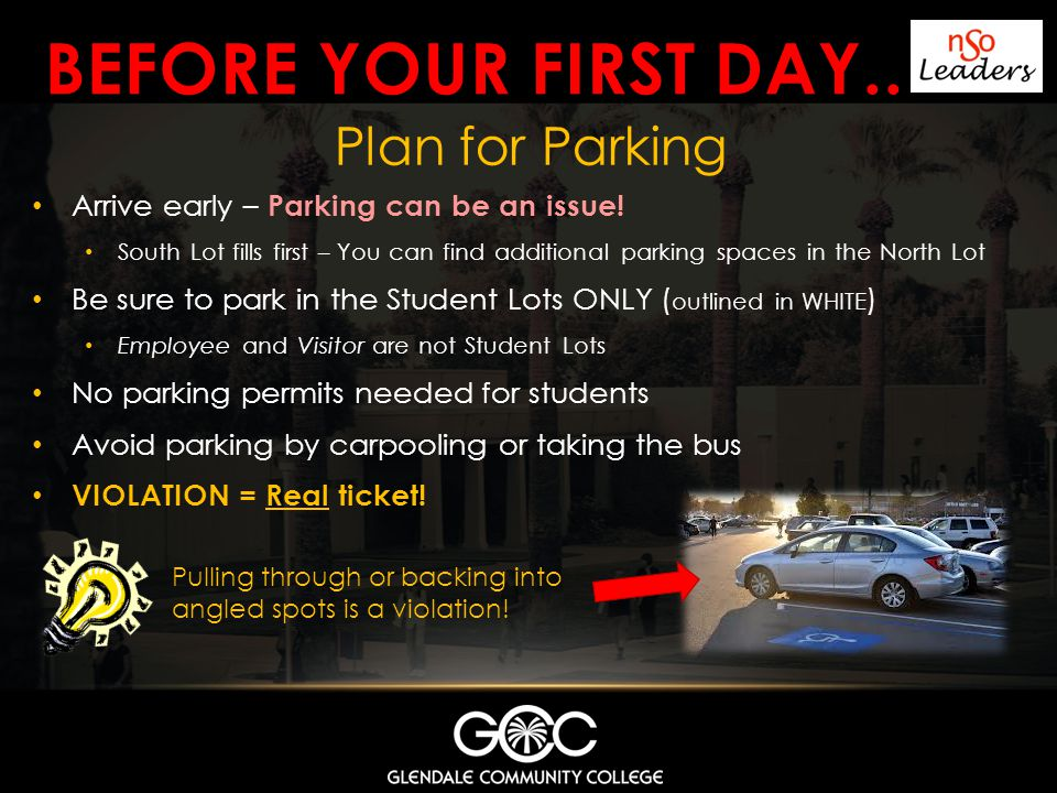 Before your first day.. Plan for Parking