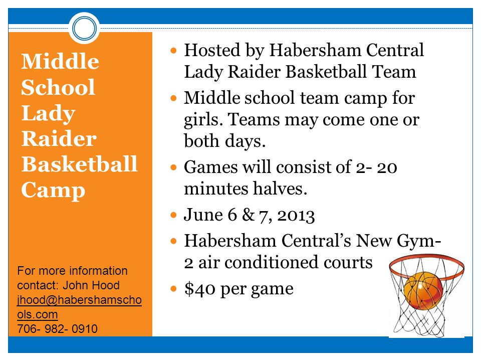 Middle School Lady Raider Basketball Camp