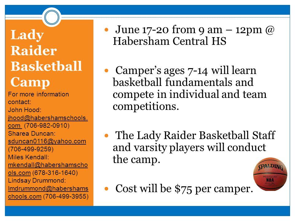 Lady Raider Basketball Camp