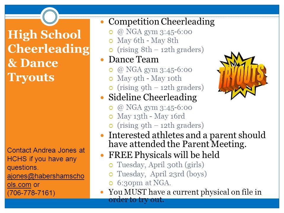 High School Cheerleading & Dance Tryouts