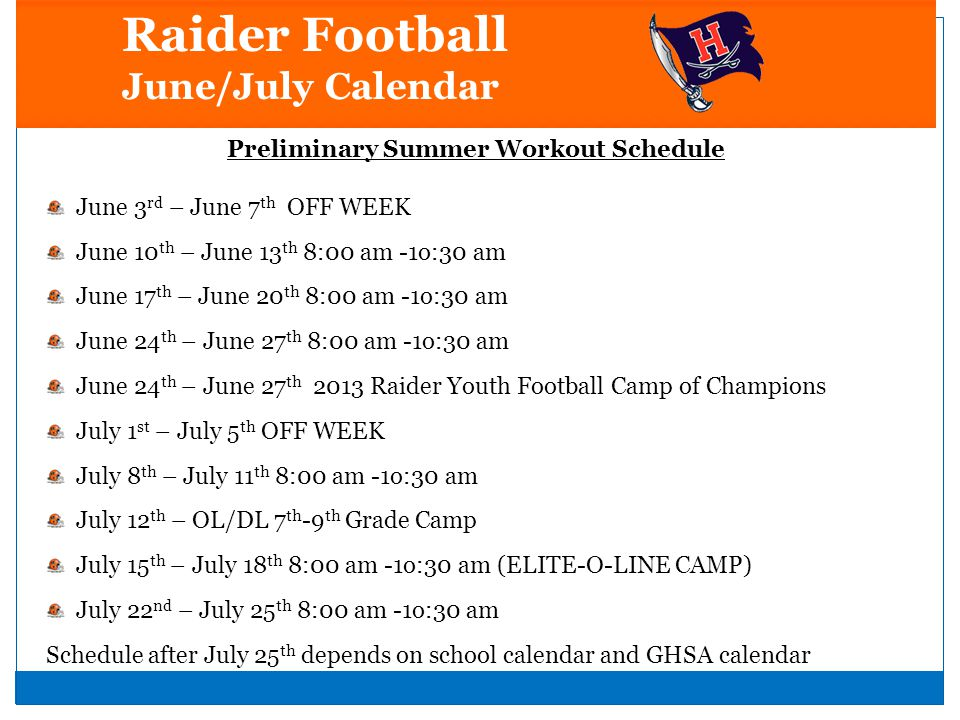 Preliminary Summer Workout Schedule