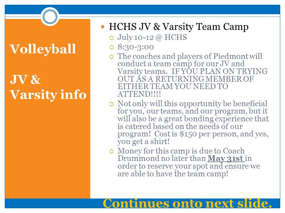Volleyball JV & Varsity info