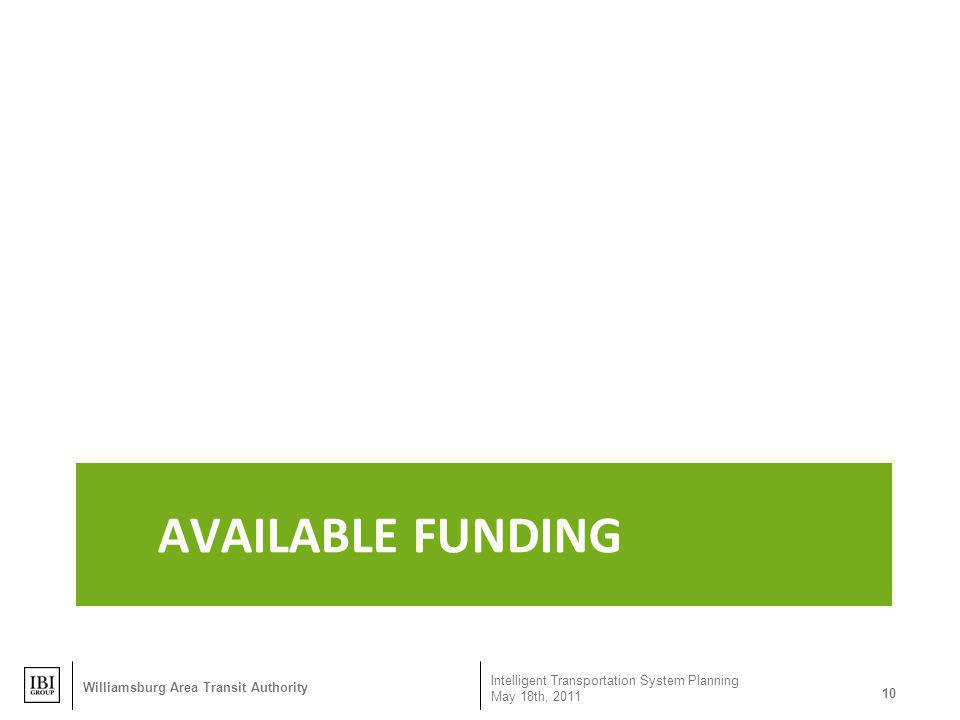 Available Funding Williamsburg Area Transit Authority