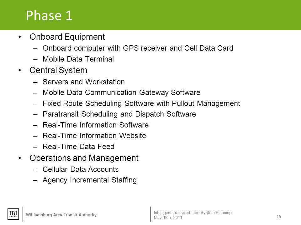 Phase 1 Onboard Equipment Central System Operations and Management