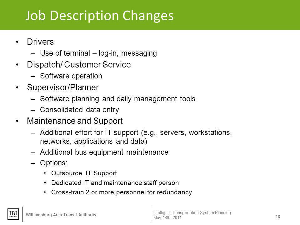 Job Description Changes
