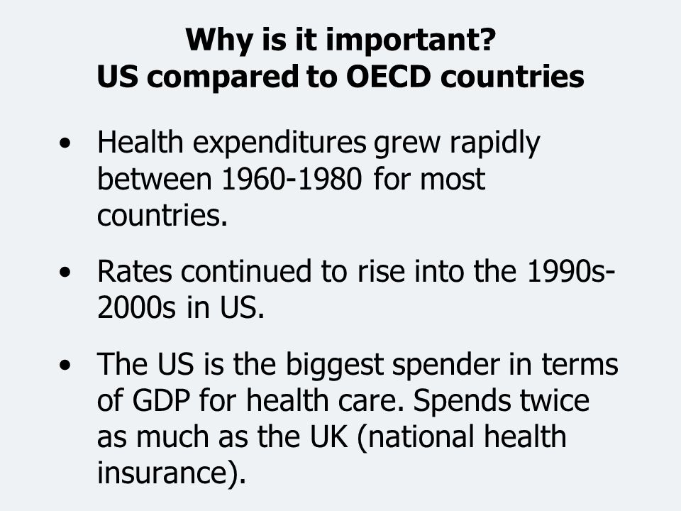 Why is it important US compared to OECD countries