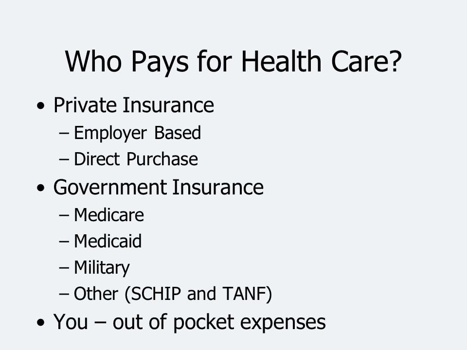 Who Pays for Health Care