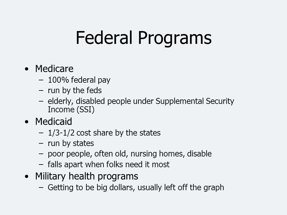 Federal Programs Medicare Medicaid Military health programs