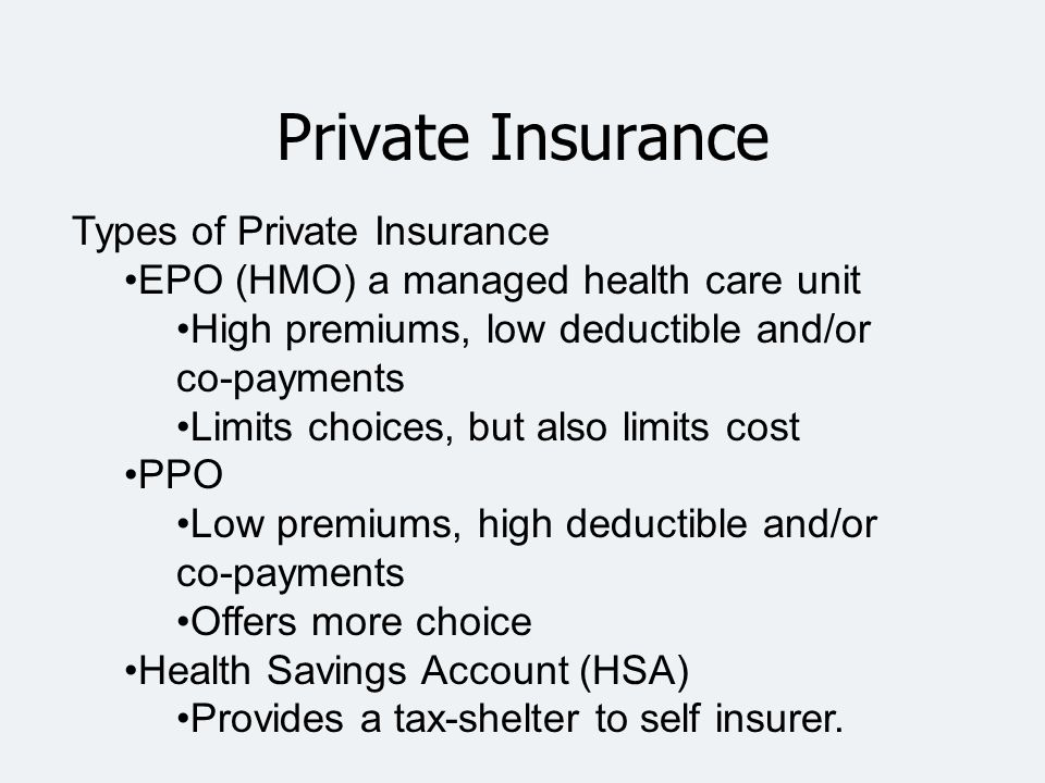 Private Insurance Types of Private Insurance