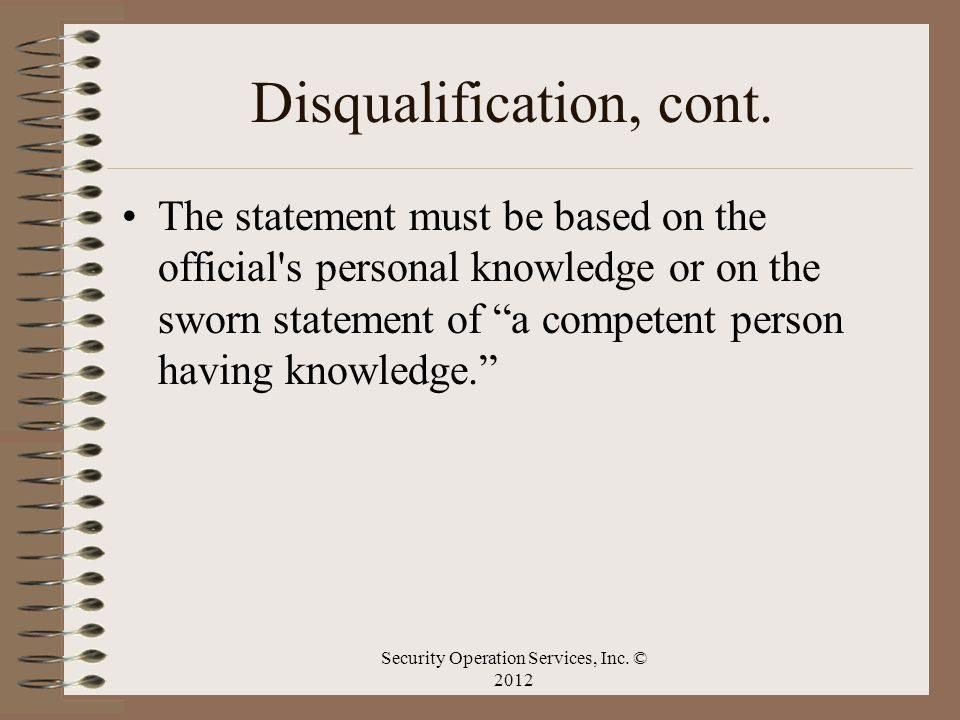 Disqualification, cont.