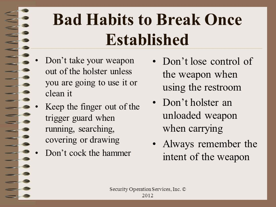 Bad Habits to Break Once Established