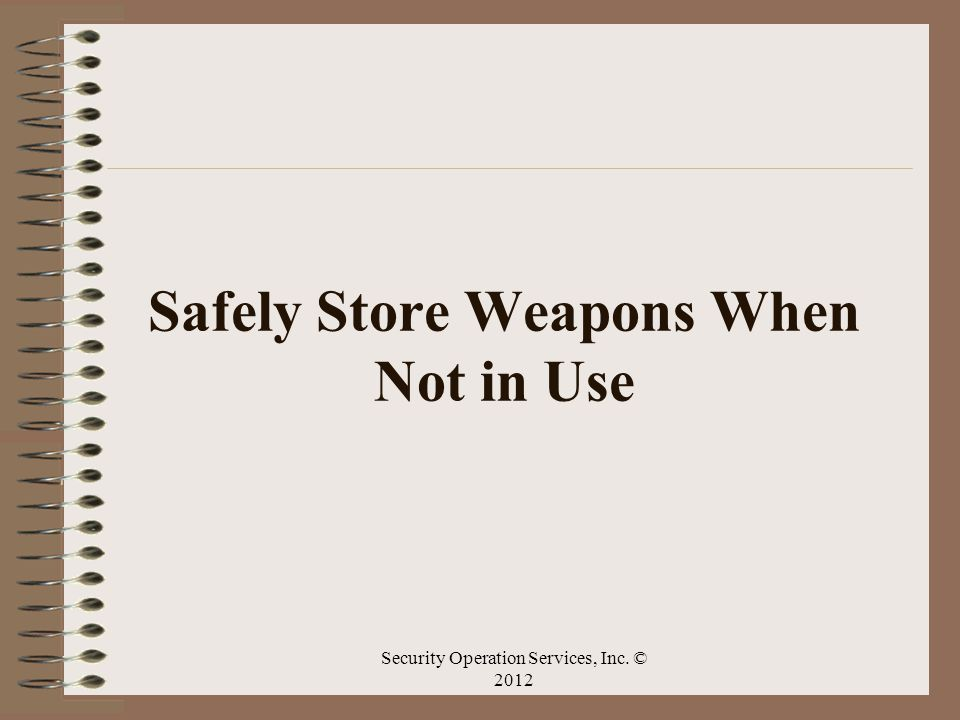 Safely Store Weapons When Not in Use