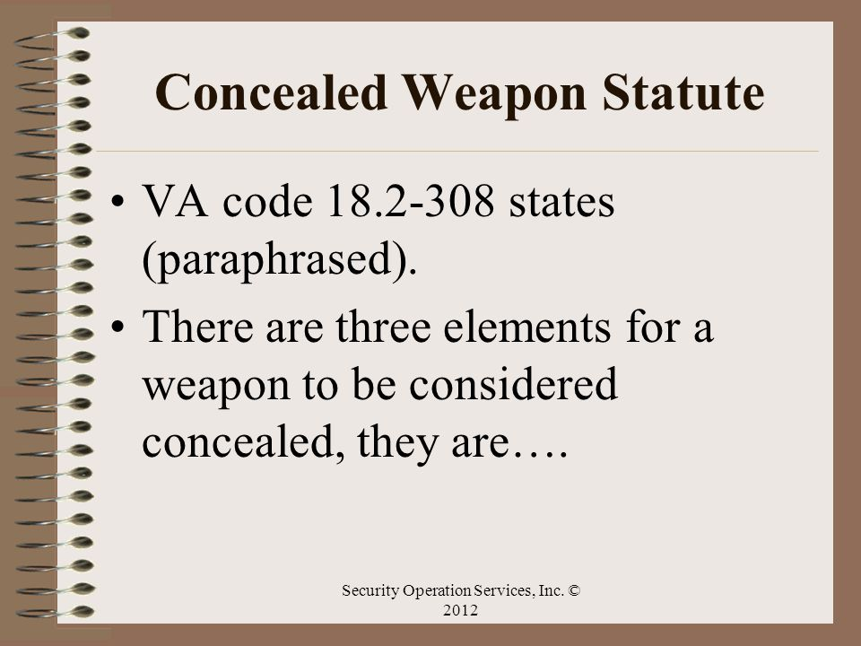 Concealed Weapon Statute