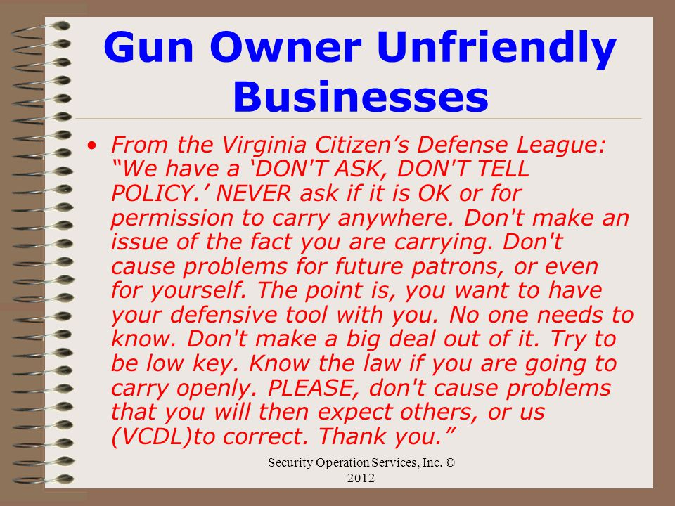 Gun Owner Unfriendly Businesses