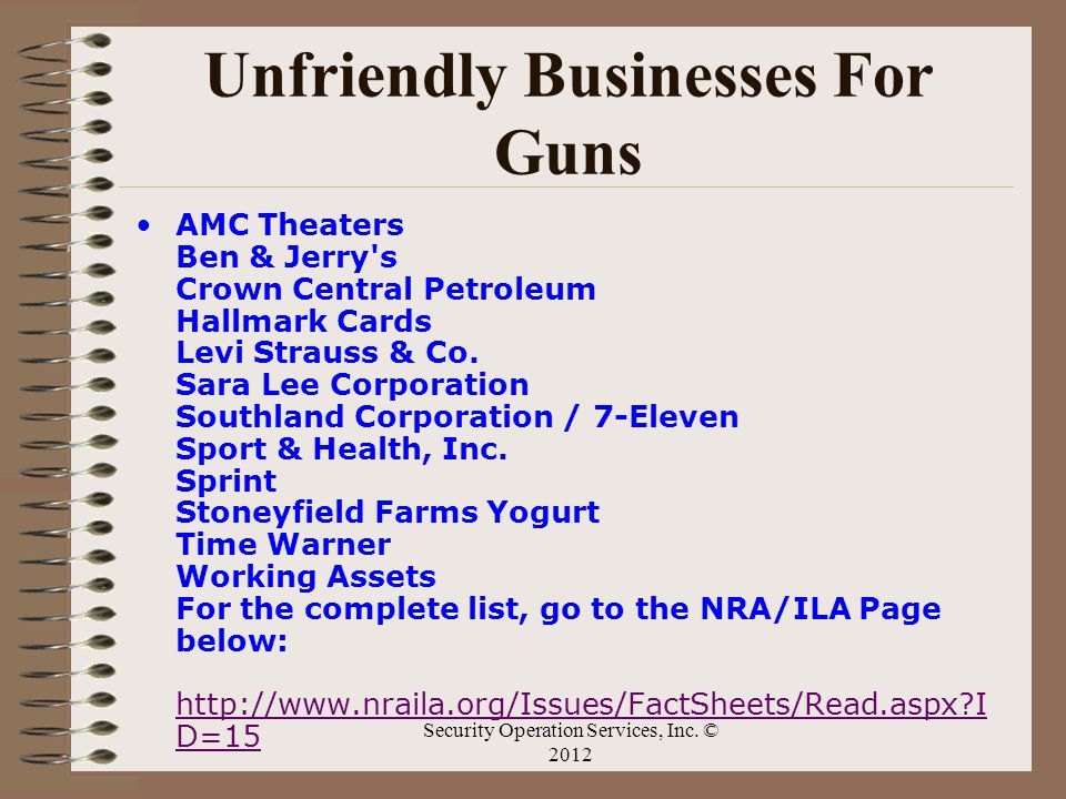 Unfriendly Businesses For Guns